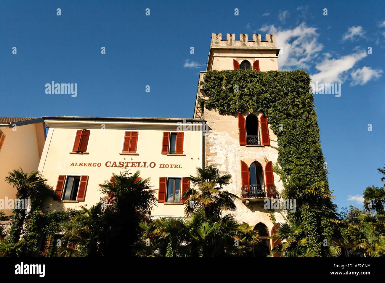 Switzerland Ticino Ascona Promenade Albergo Castello Hotel - Stock Image