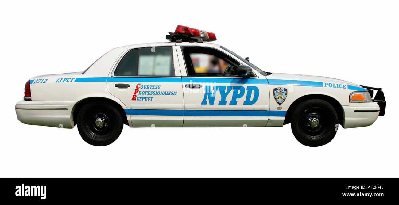 NYPD Yew York police sheriff policeman American old car classic history vehicle vintage antipodes symbol collector age golden - Stock Image