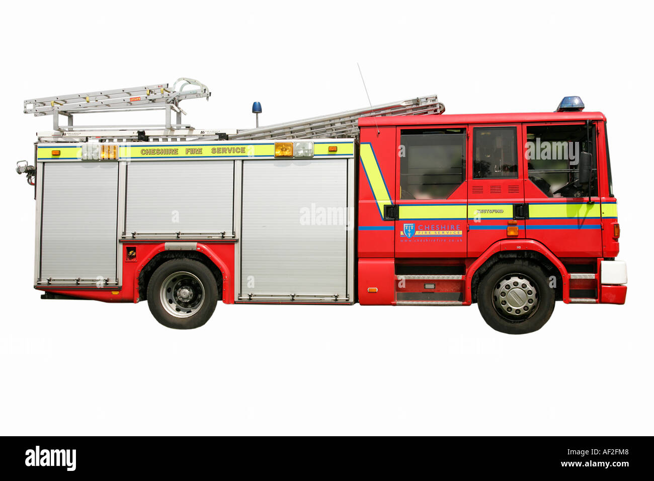 Fire track keeper street emergency alarm red speed danger destructive brave save life Cheshire fire brigade water ladder bucket - Stock Image