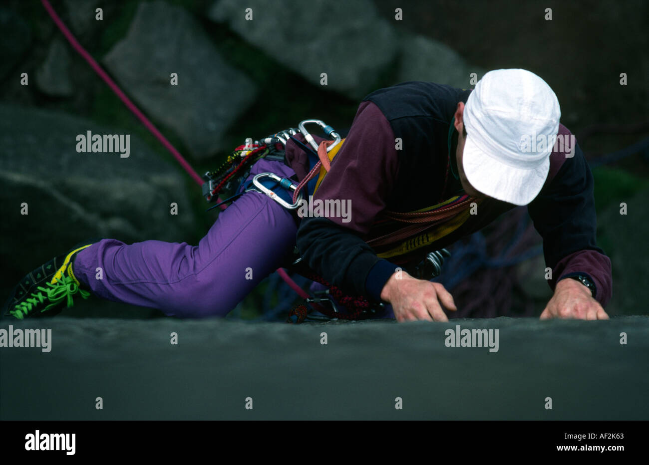 PICTURE CREDIT DOUG BLANE Rock climbing in the Peak District National Patk Grat Britain - Stock Image