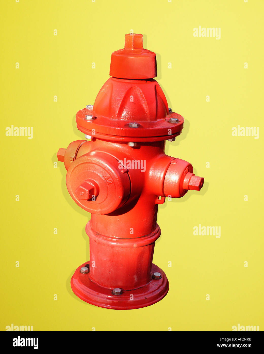 Red Rocket Stock Fire hydrant with clipping path on color background - Stock Image