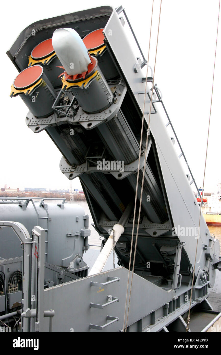 USS New Jersey BB 62 is one of the four battleships of the Iowa class vertical view of tomahawk missile launcher - Stock Image