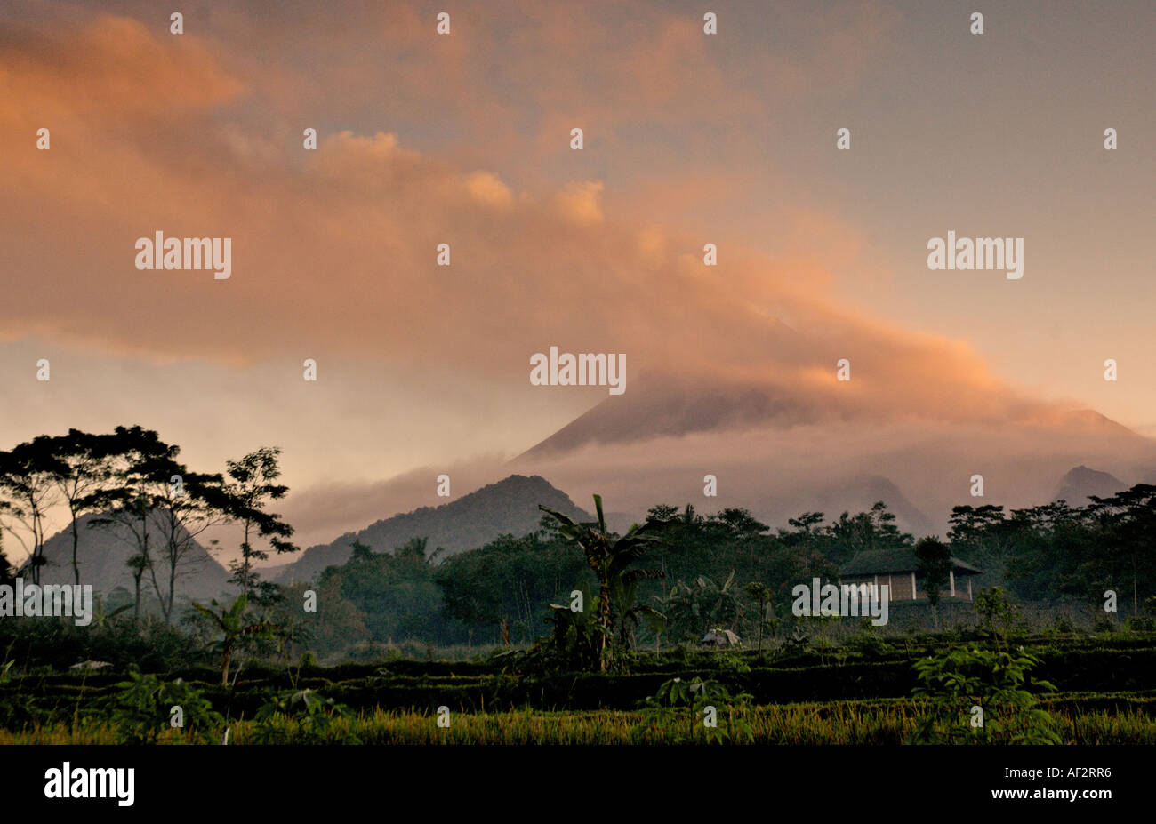 Merapi volcano emitted large gas clouds covering Keteb village in  pyroclastic ash, Yogyakarta, Java, Indonesia. - Stock Image