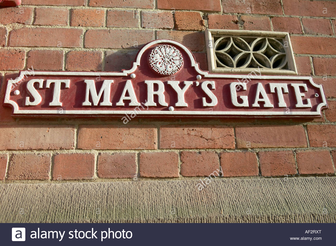 St Mary s Gate traditional cast iron street sign on wall Lace Market Nottingham - Stock Image