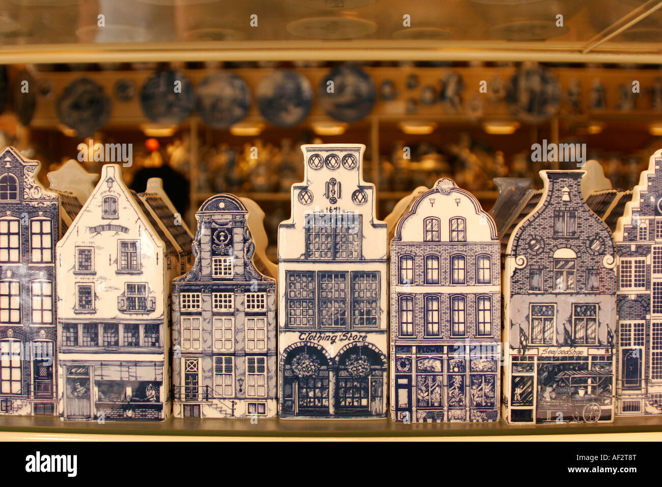 typical dutch houses made of pottery as souvenirs from Delft Delftware or Delft pottery is blue and white pottery - Stock Image