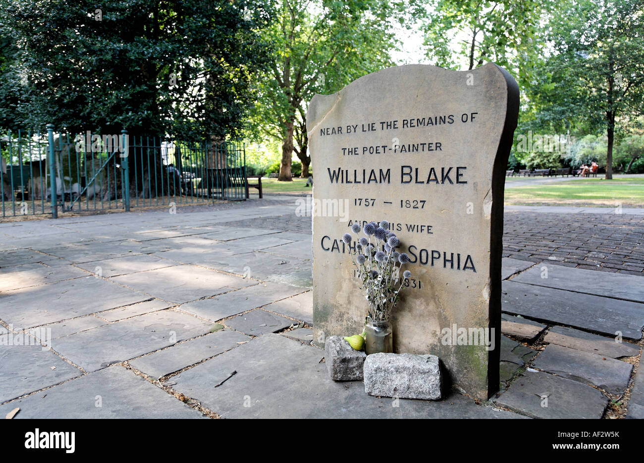 Grave of William Blake in Bunhill Fields Cemetery London UK - Stock Image