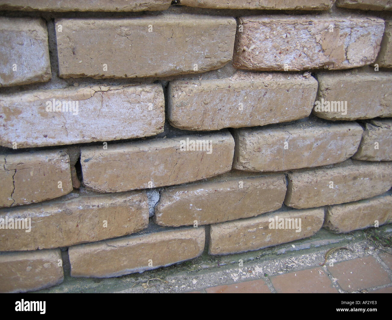 Salinity salt affected bricks with lost mortar - Stock Image