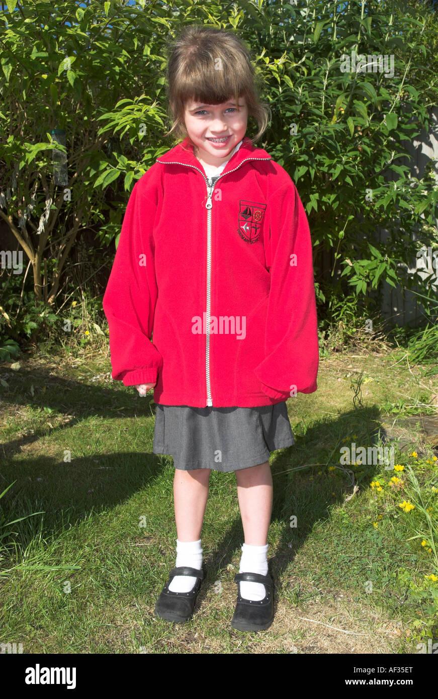 Little Girl In English School Uniform Stock Photo 13815935 Alamy