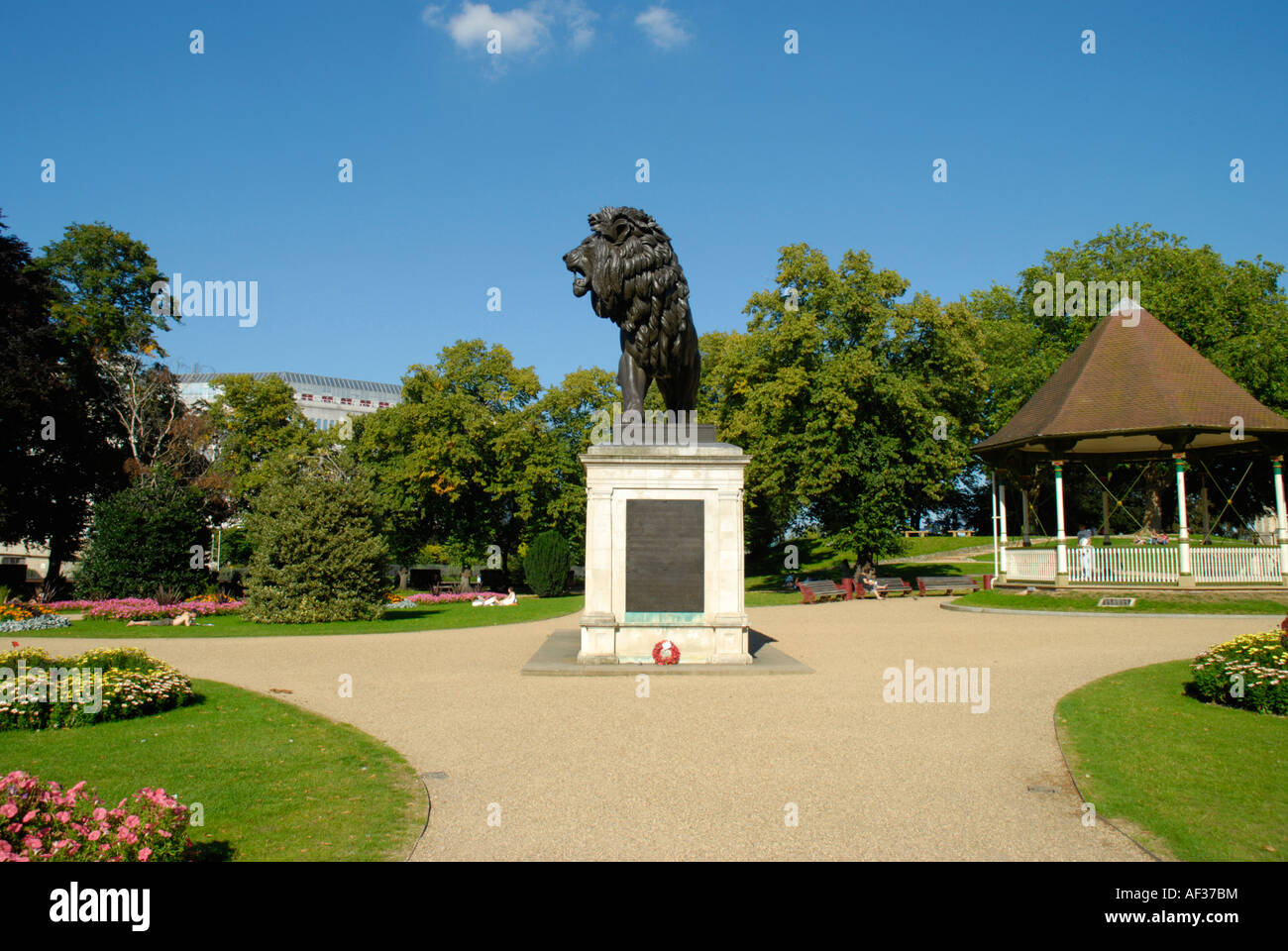 View of Forbury Gardens showing the Forbury Lion statue Reading Berkshire England Stock Photo