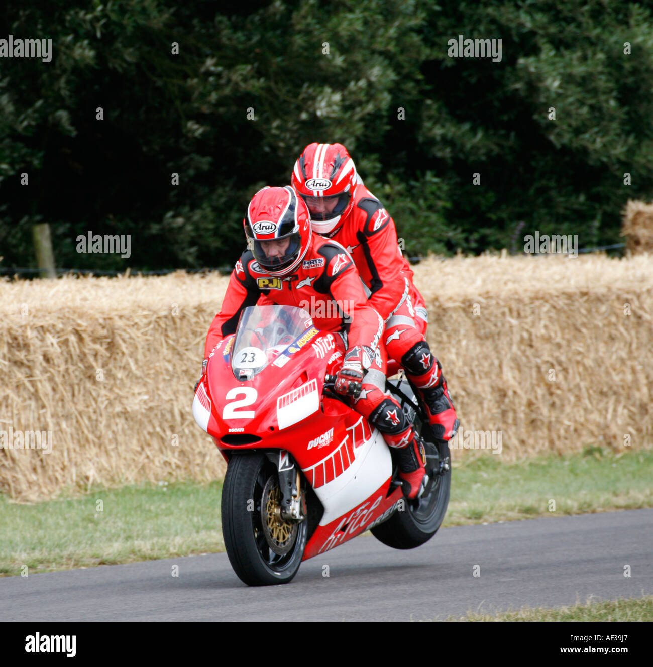 2004 Ducati Desmosedici Two-seater on the hillclimb at the Goodwood Festival of Speed, Sussex, England. - Stock Image