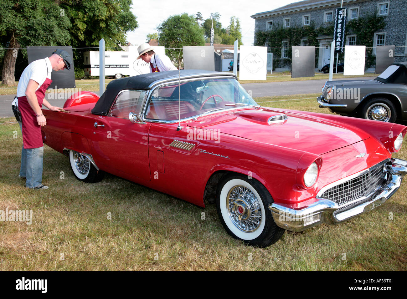 1957 ford thunderbird in the cartier style et luxe competition at the goodwood festival of speed is cleaned