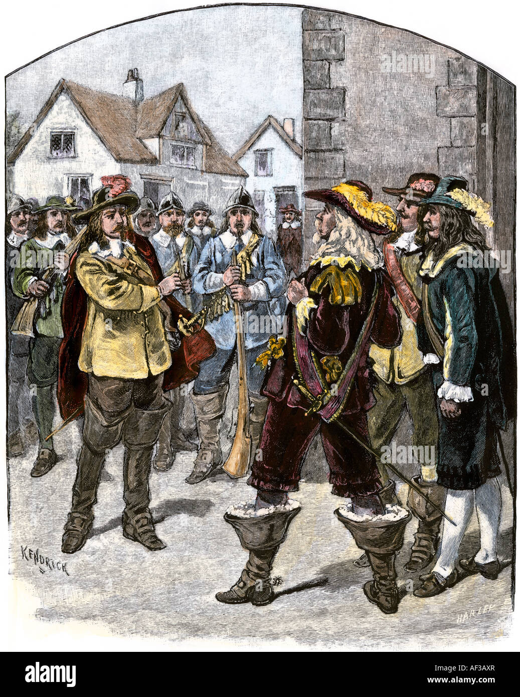 Bacon demanding his commission of Governor Berkeley Virginia 1676. Hand-colored woodcut Stock Photo