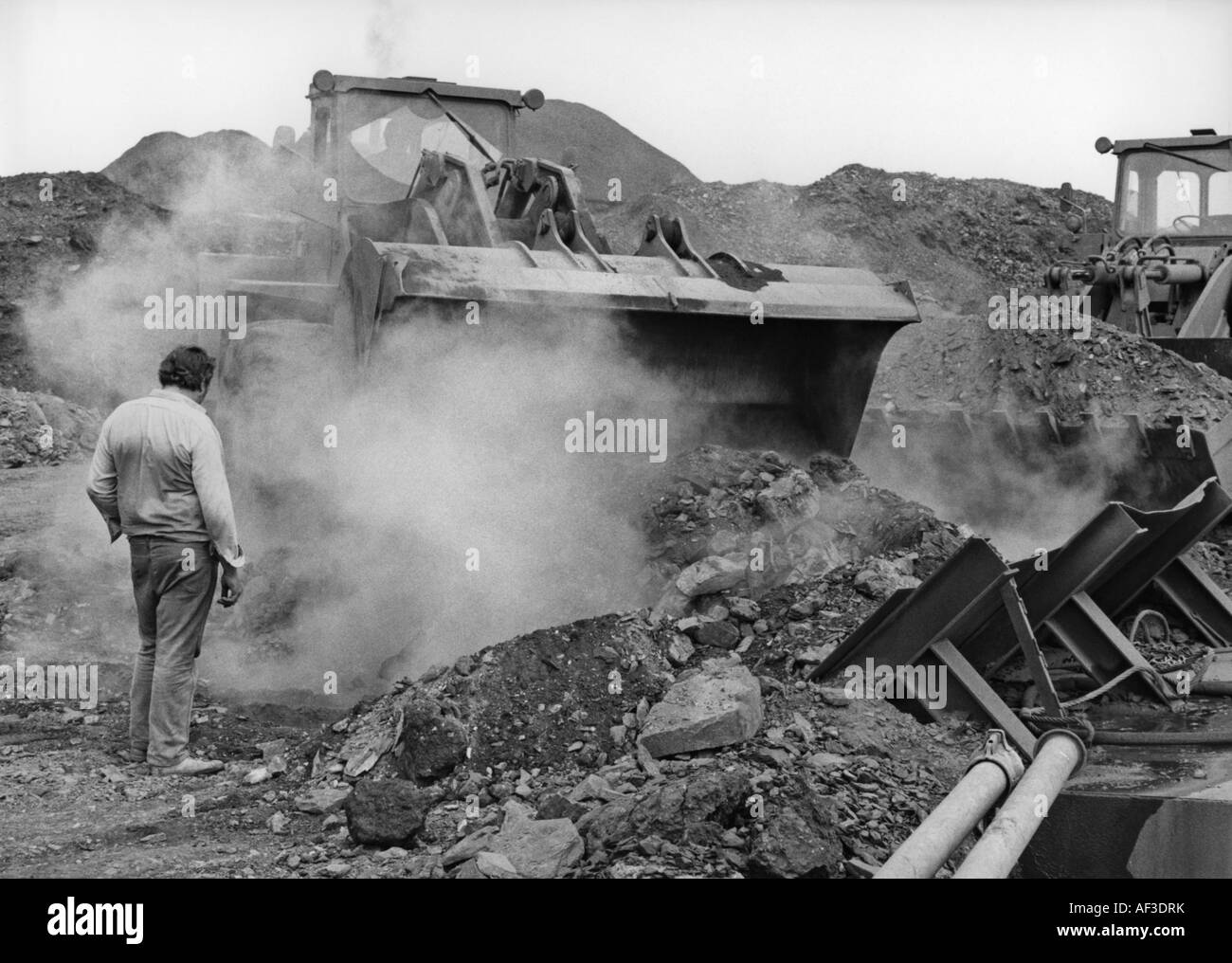 work during the burning coal heap at Oberhausen-Alstaden in 1981, Germany, North Rhine-Westphalia, Ruhr Area, Oberhausen - Stock Image