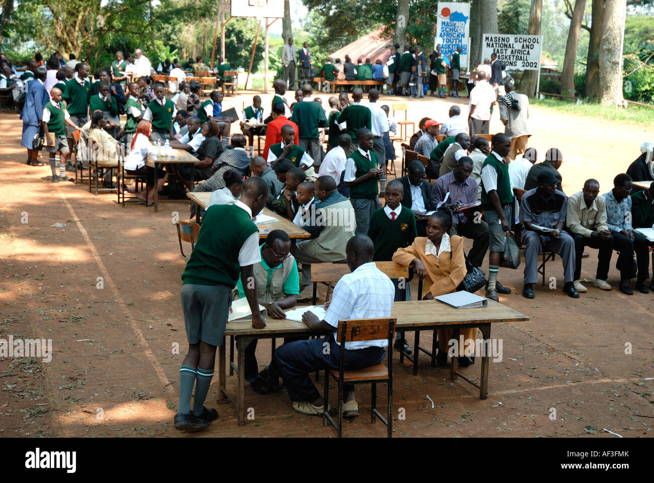 Parents meeting members of staff to discuss the progress of their sons at Maseno School Kenya East Africa - Stock Image