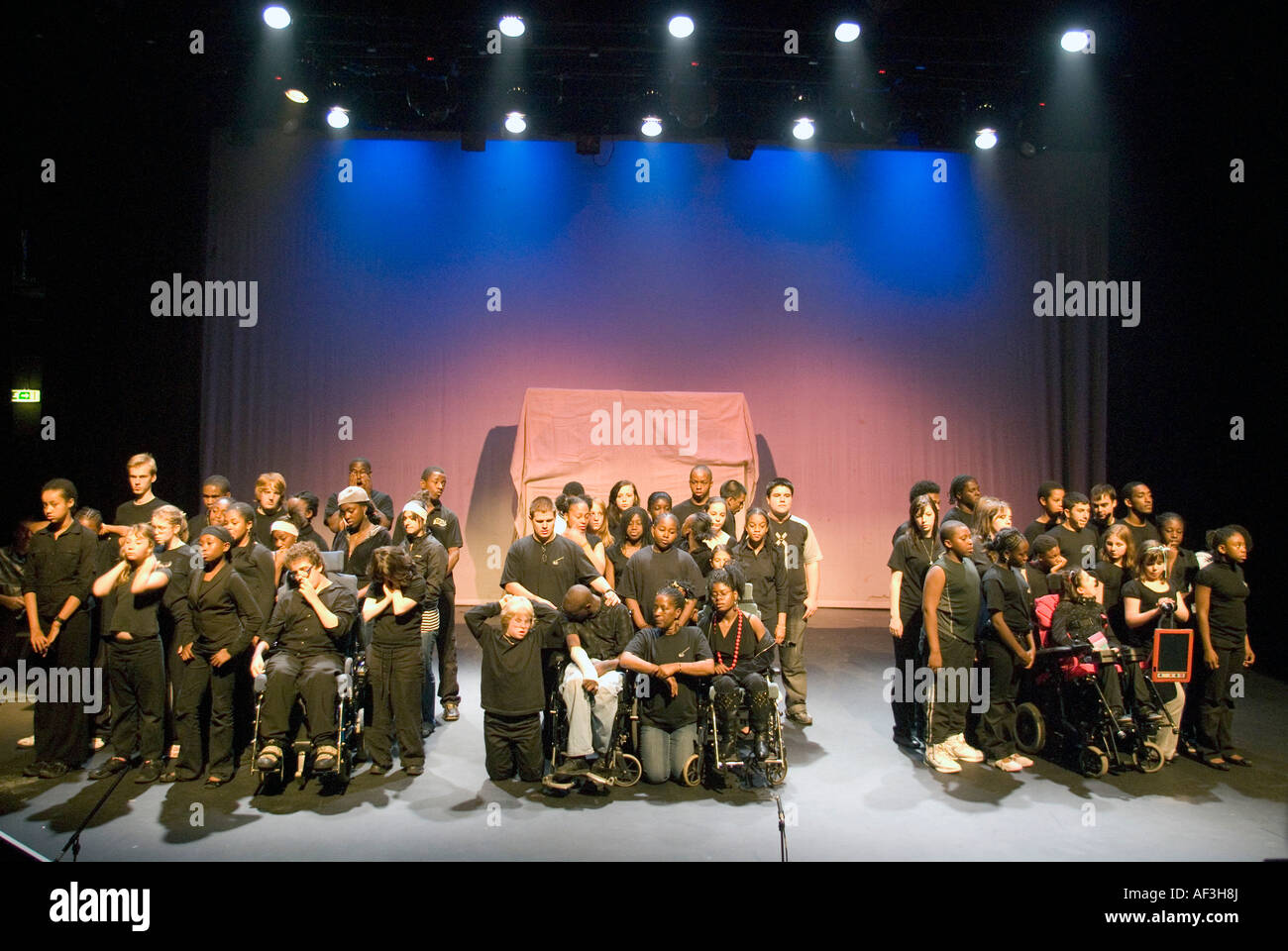 Youth theatre group in rehearsal London UK - Stock Image