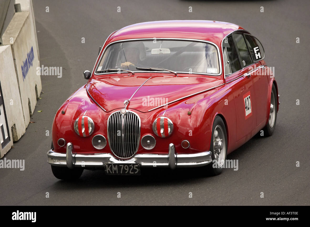 MkII Jaguar Classic Street Racing Dunedin South Island New Zealand - Stock Image