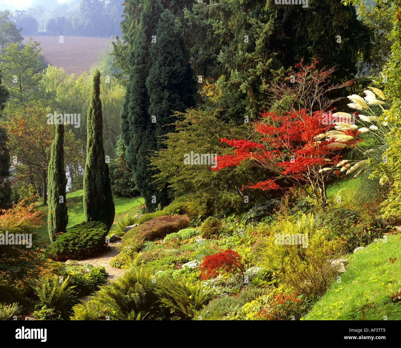 GB - HEREFORDSHIRE:  Weir Gardens on the north bank of the River Wye Stock Photo