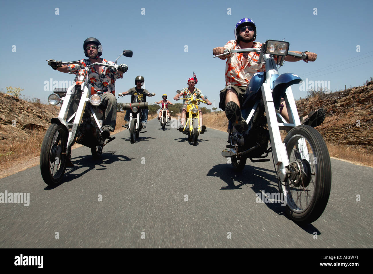 easy rider bikers making fun of the iconic 70 s movie - Stock Image