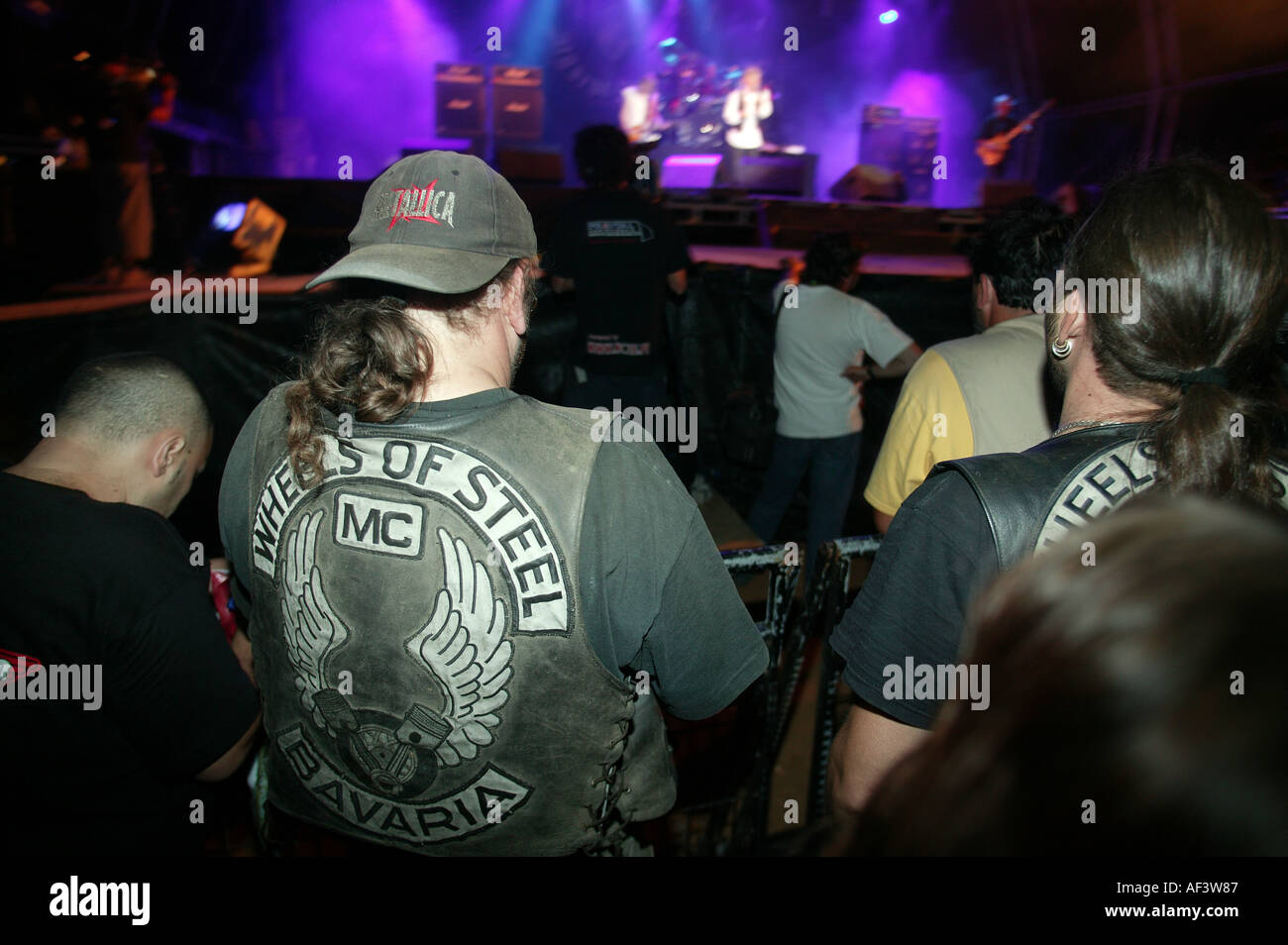 bikers watching a concert at the faro moto rally portugal - Stock Image