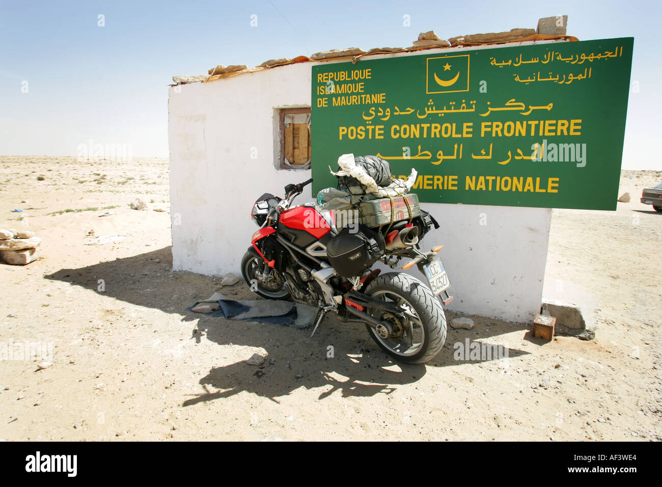 A benelli TNT 1130cc motorcycle crossing the sahara desert in Morocco, mauritania and senegal - Stock Image