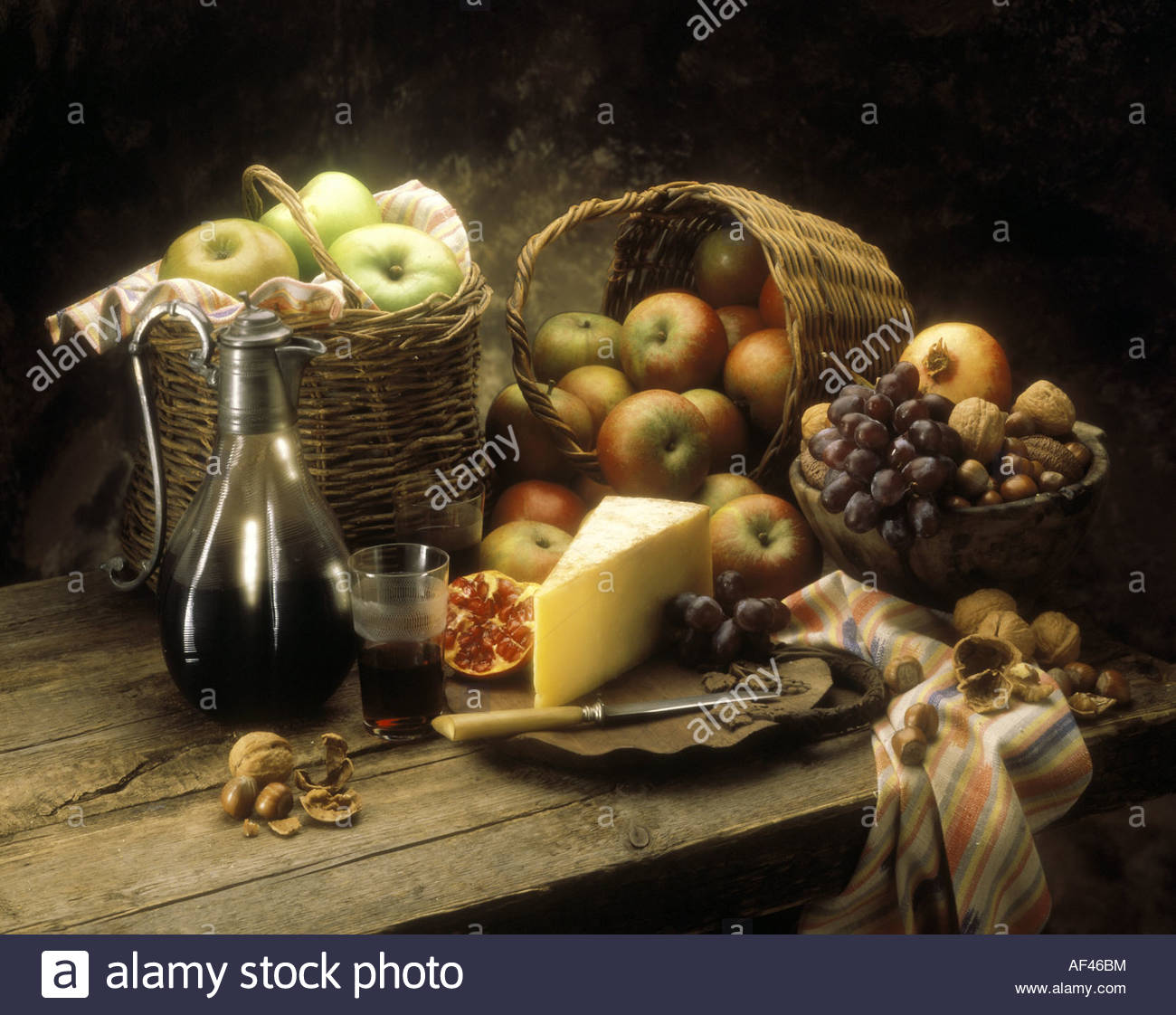 Rustic Still Life With Cheese Fruit Nuts And Red Wine