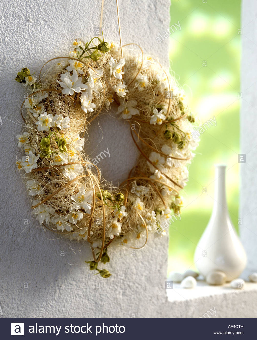 Door Wreath With White Fabric Flowers Stock Photo 13827808 Alamy