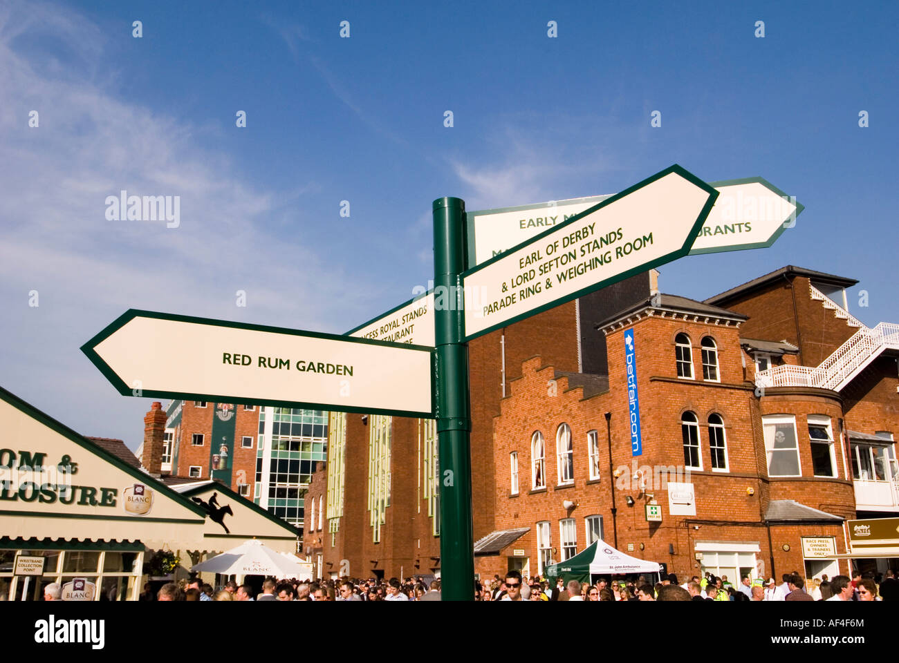 Direction sign at aintree  horse race course liverpool Stock Photo