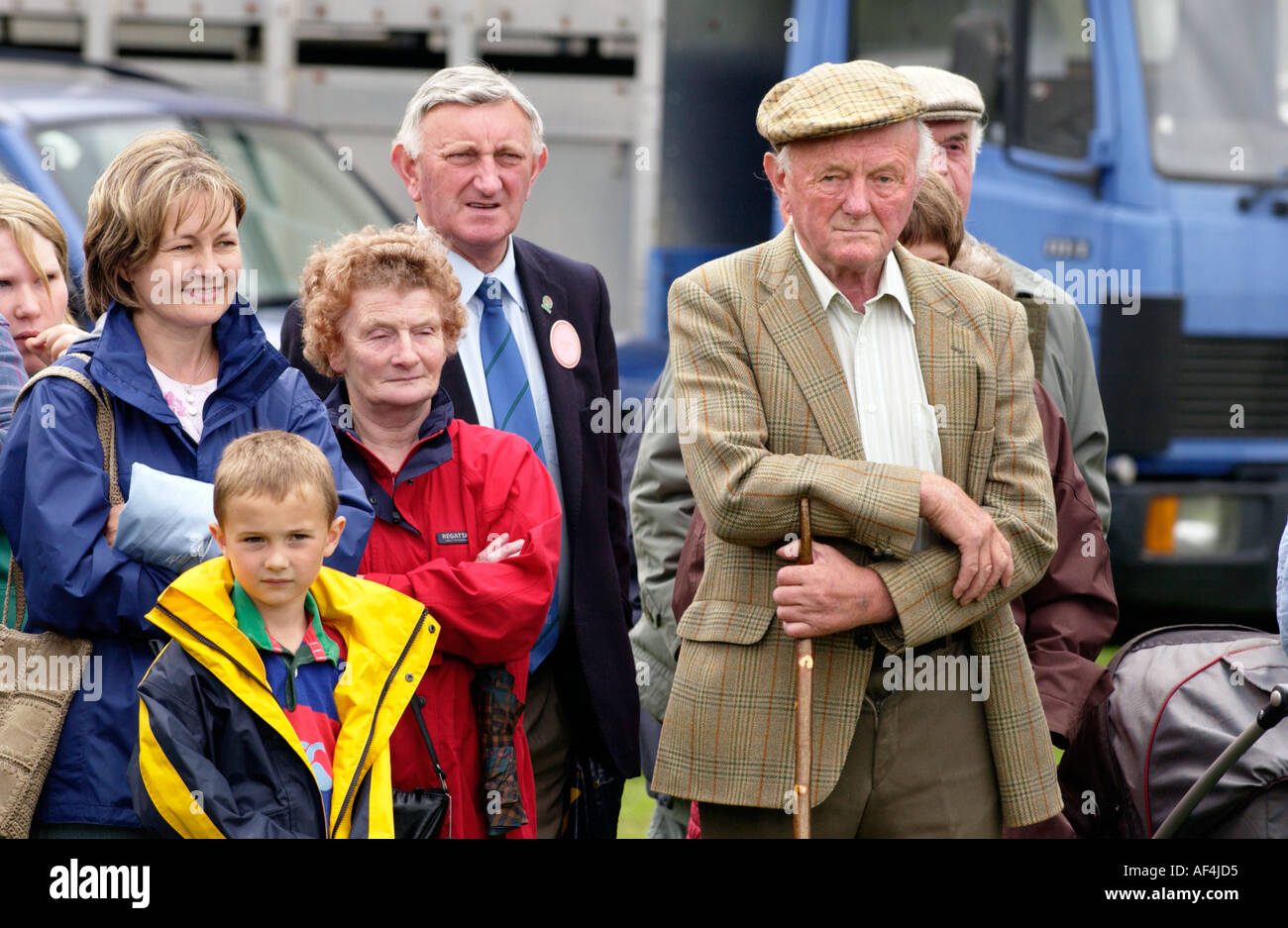 Spectators watching livestock judging at Brecknockshire Agricultural Society annual show in its 250th year Brecon Powys Wales UK - Stock Image