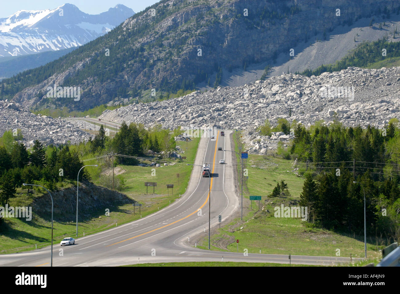 LANDSCAPE ;Roadway winding through the Canadian Rockies - Stock Image