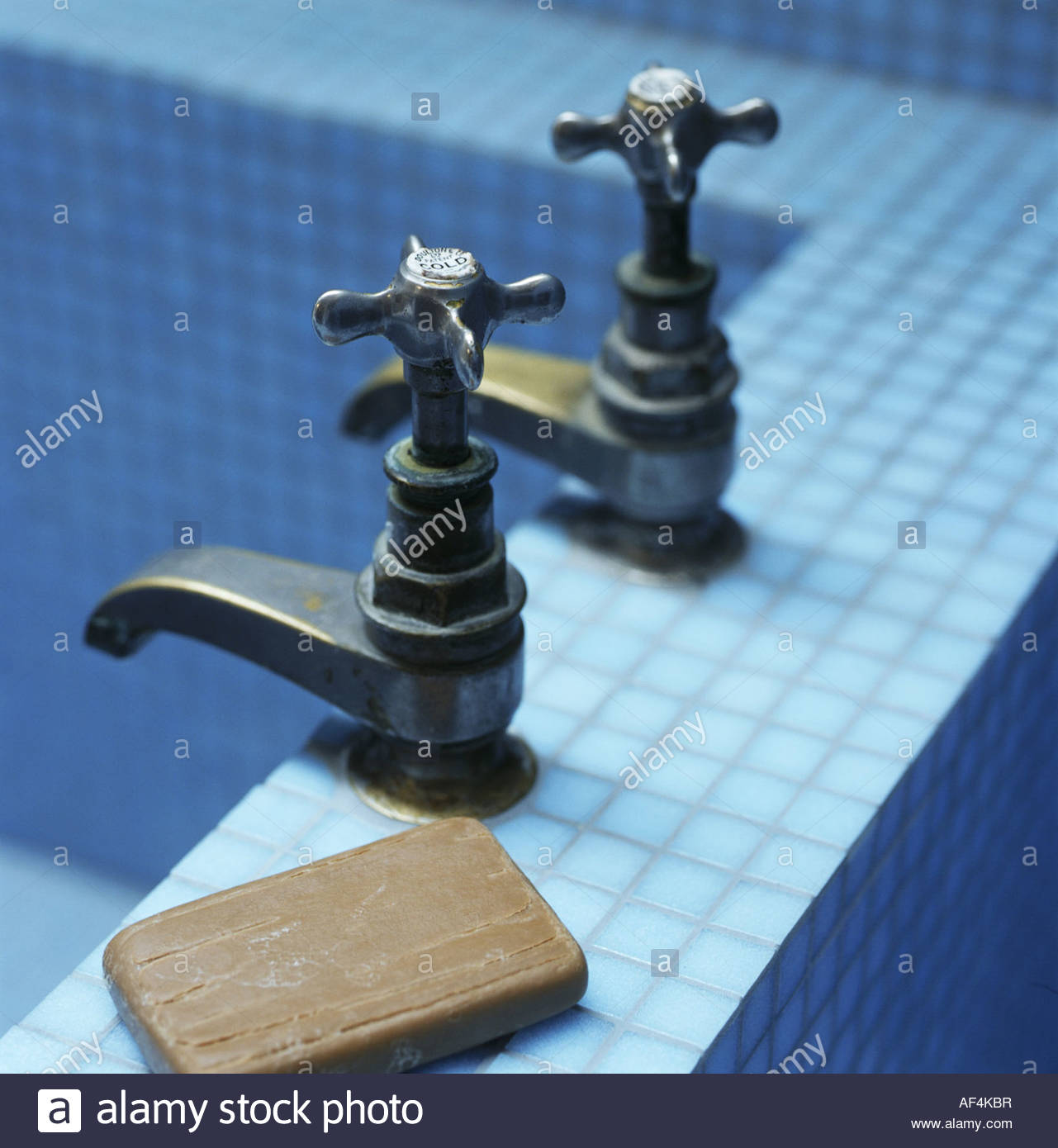 Two taps with soap on edge of a bath-tub Stock Photo: 13830010 - Alamy