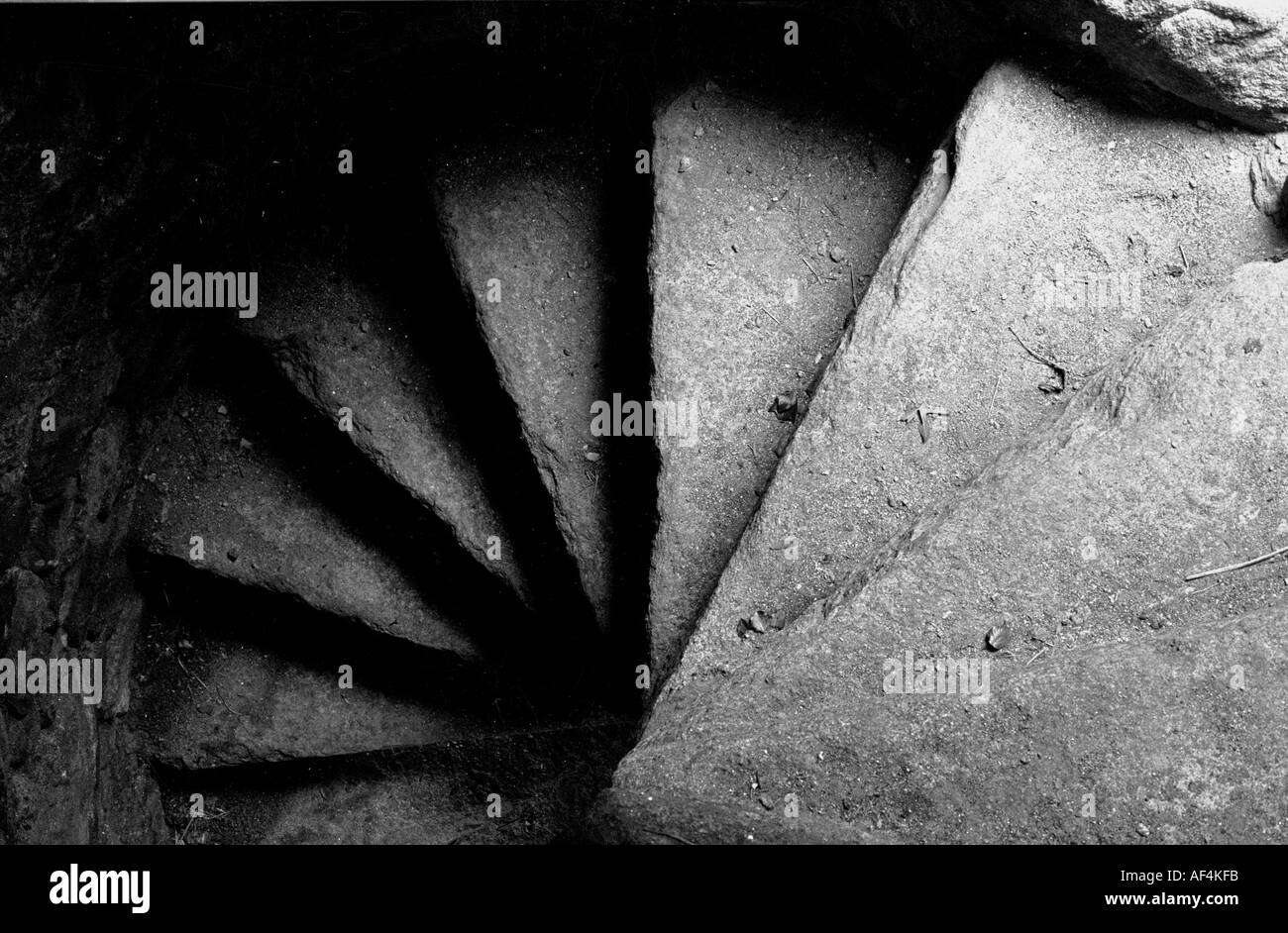 Stone Stair case in Medieval Coolhill Castle in Kilkenny IrelandStock Photo