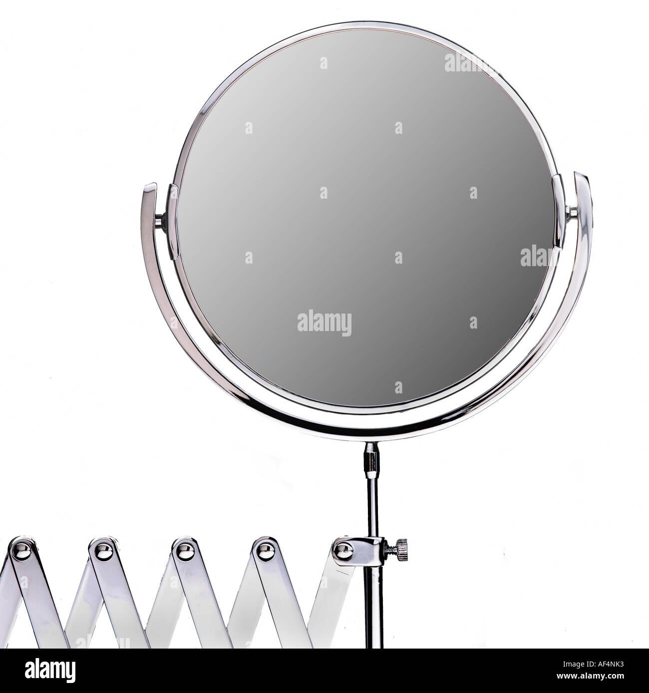 Bathroom mirror on white background - Stock Image