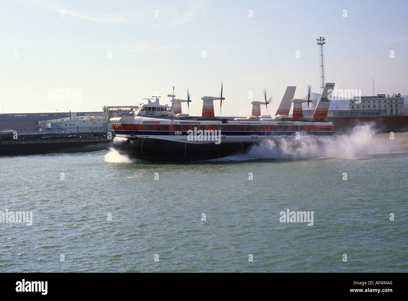 SRN4 Hovercraft Prince of Wales in Hoverspeed livery departing Dover 1995 - Stock Image