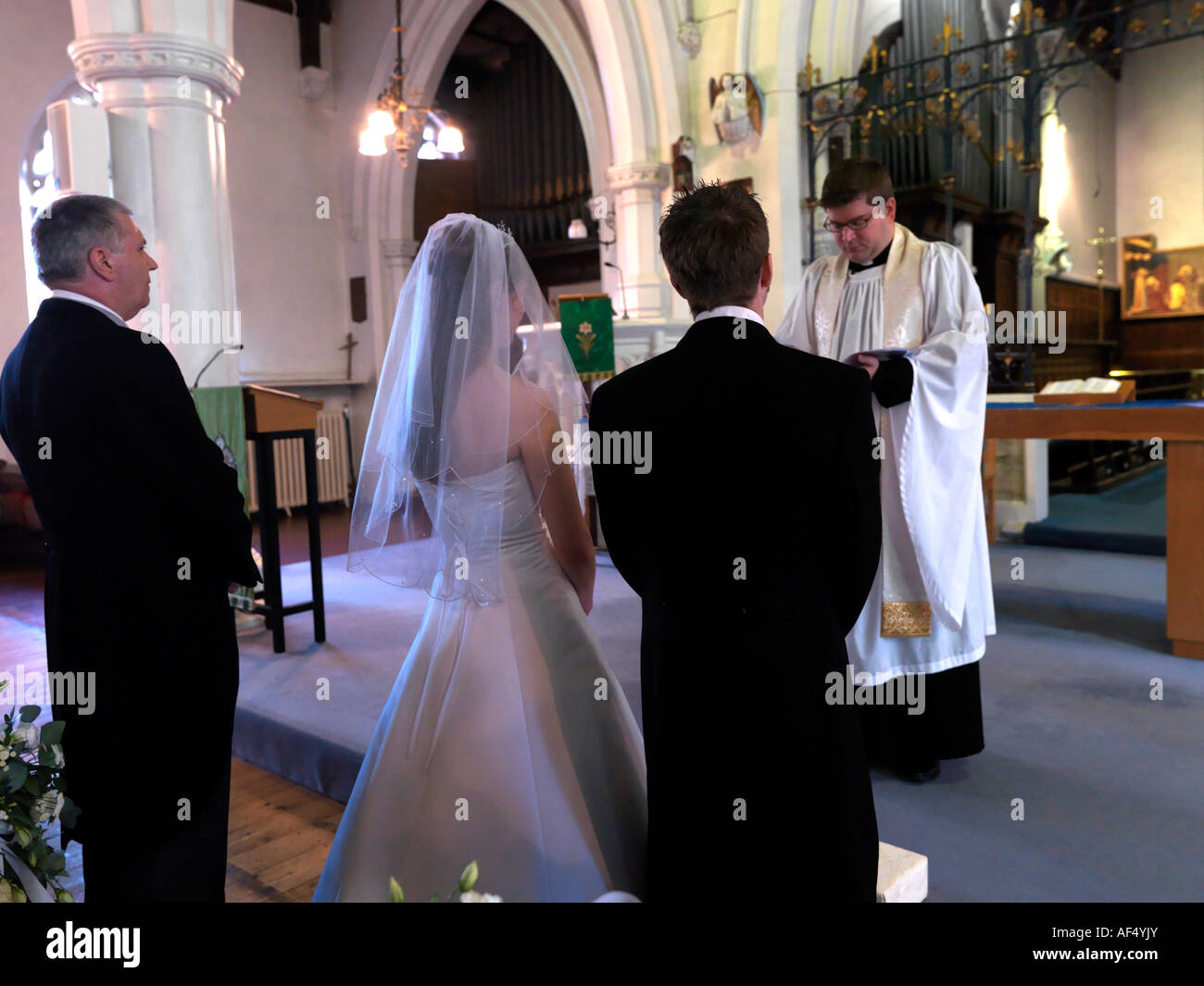 Bride Being Given Away by her Father Wedding Surrey Engalnd - Stock Image