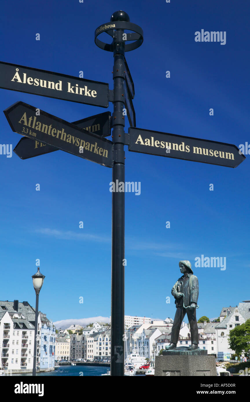 Sign post and Fisher Boy statue Alesund, More og Romsdal, Norway - Stock Image