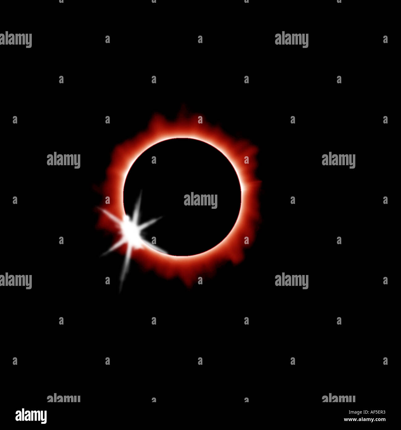 solar eclipse total eclipse black circle ring of fire solar flare corona black sky diamond ring effect red colour eclipse sky ni - Stock Image