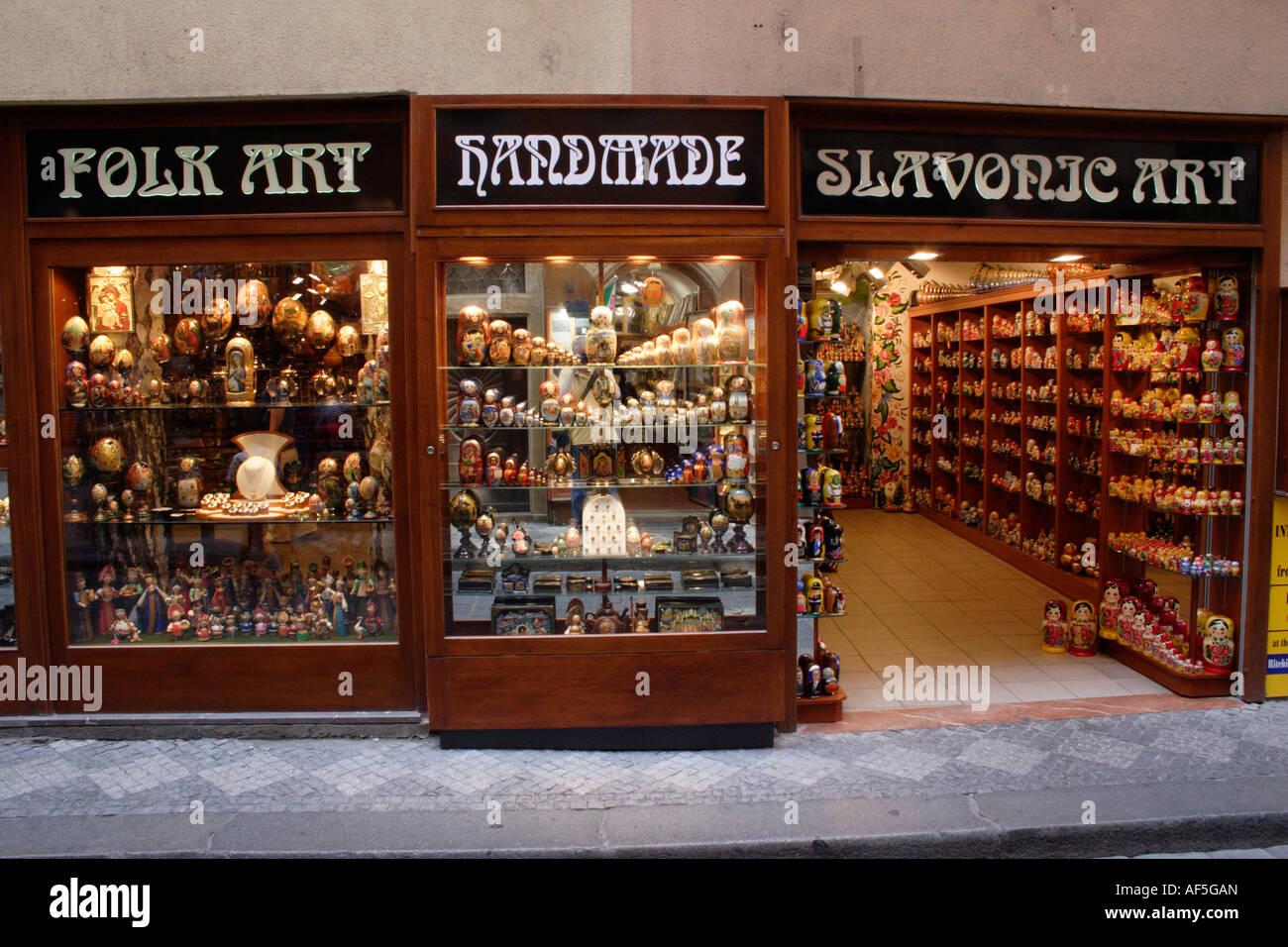 Slavonic Folk Art Shop Old Town Prague - Stock Image
