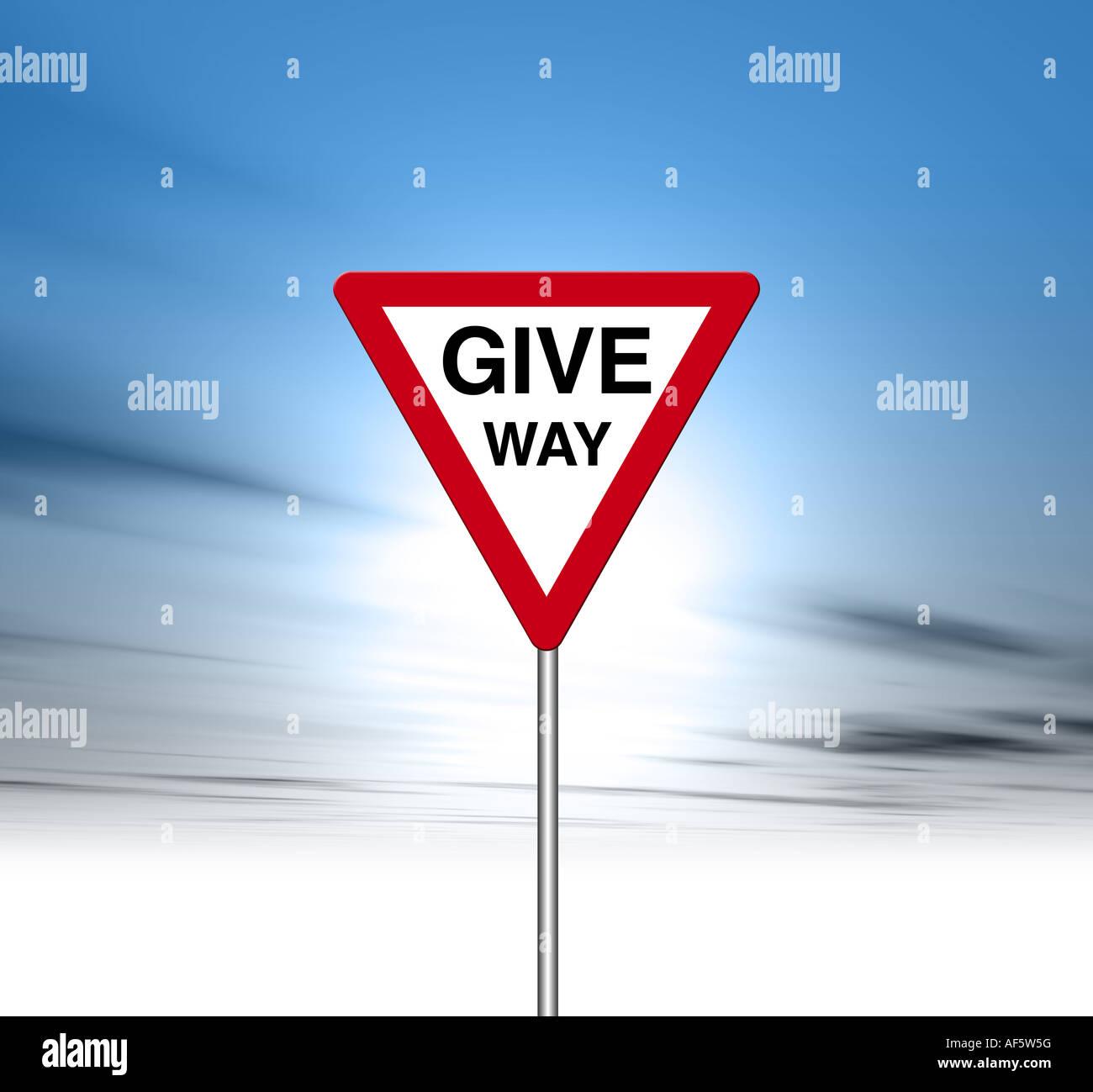 Give way Road sign digital illustration Stock Photo