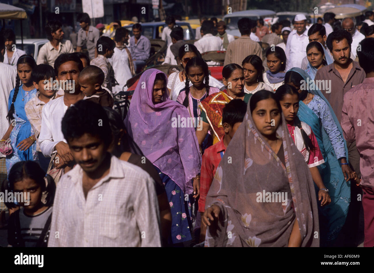 india indian population people crowd street - Stock Image