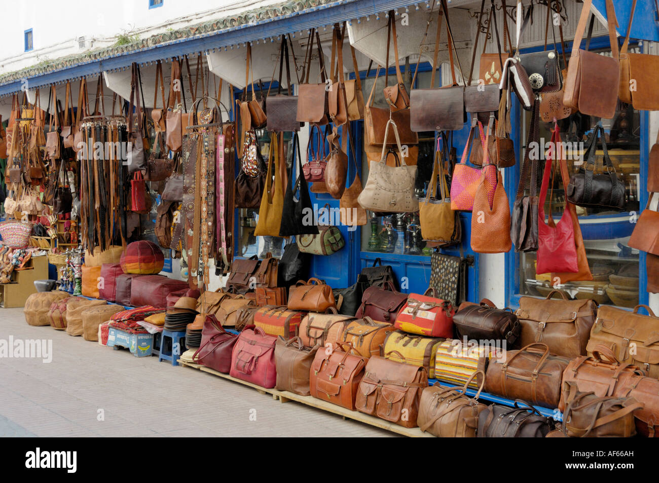 Leather goods shop Essaouira Morocco North Africa - Stock Image