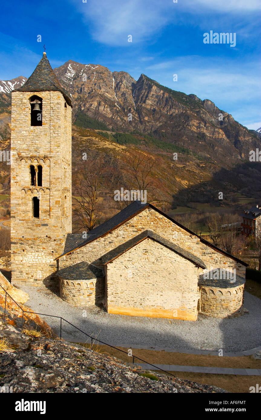 Iglesia de Sant Joan de Boí. Valle de Boi, Ribagorça, Lleida España Sant Joan de Boi Church. Boi - Stock Image