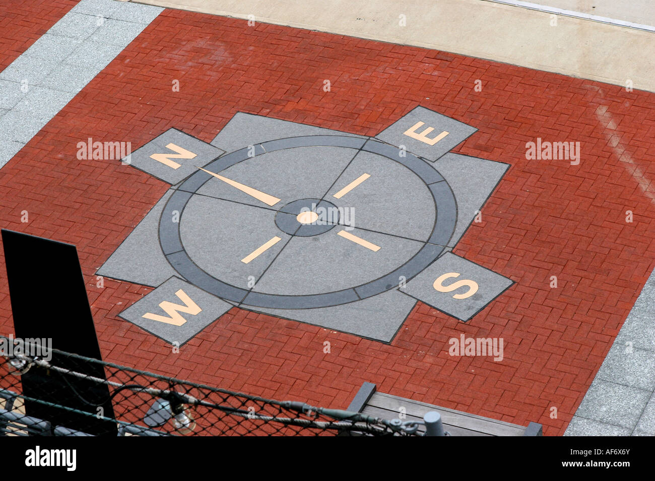 USS New Jersey BB 62 site at Camden New Jersey showing a wind rose with the cardinal directions on the ground - Stock Image