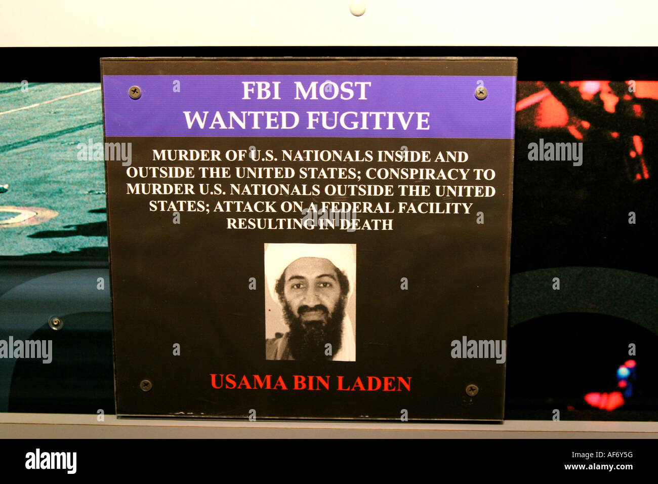 Usama Osama Bin Laden most wanted sign from the fbi seen at the USS New Jersey - Stock Image