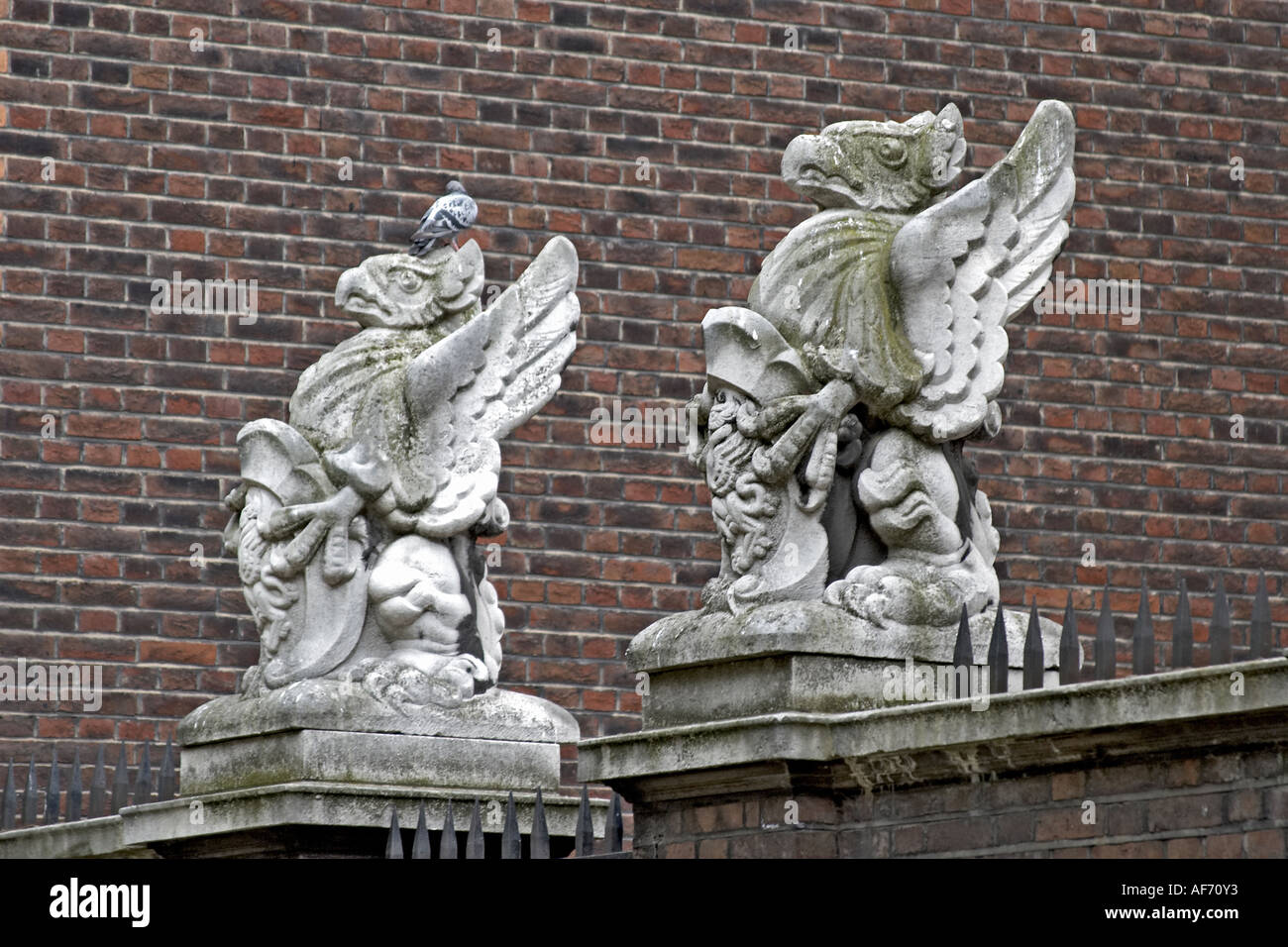 Griffin gatepost figures in Grey s Inn Inns of Court with barrister s chambers London WC1 England Law and legal workplace - Stock Image