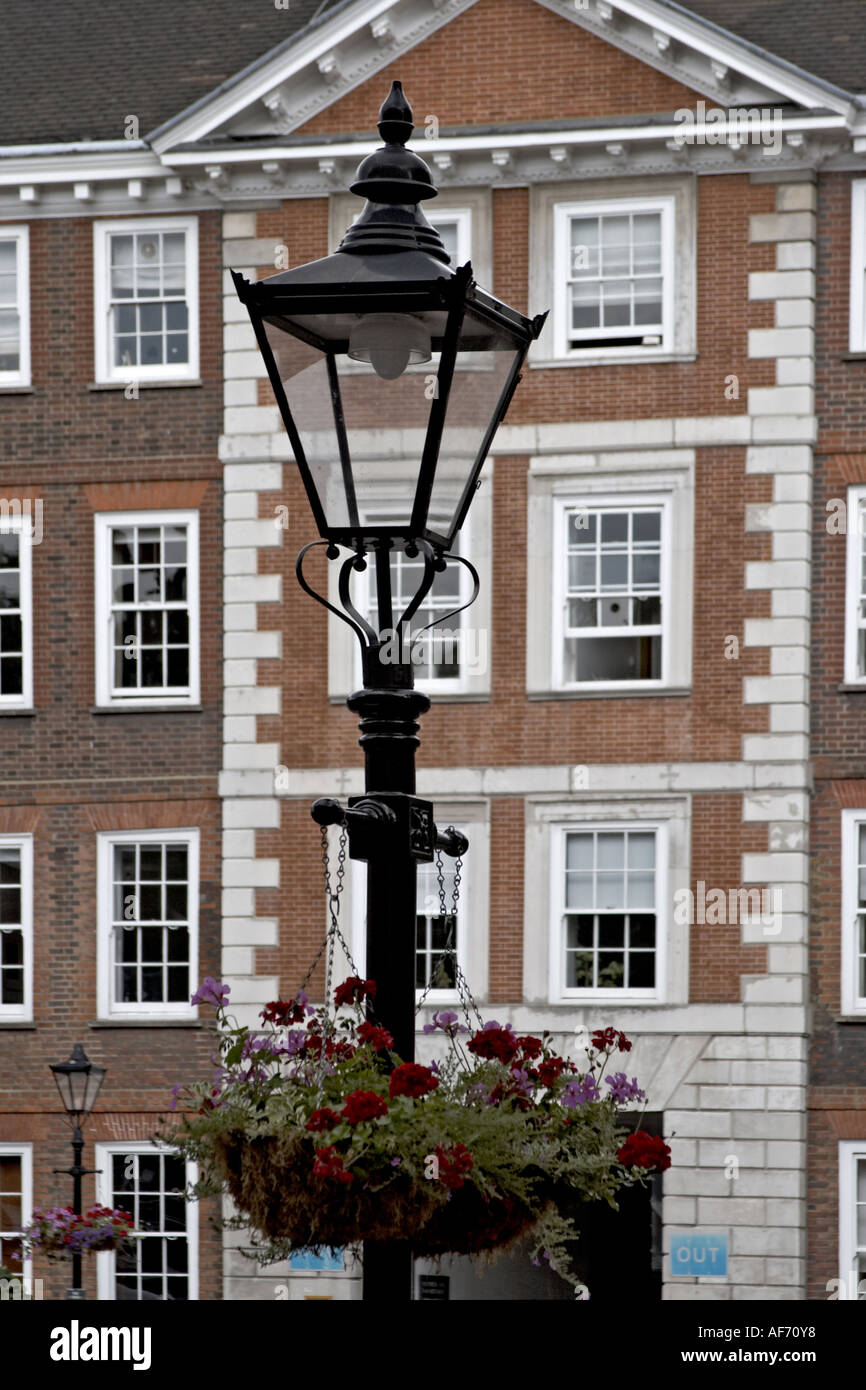 Old lamp post Georgian buildings in Grey s Inn Square Inns of Court with barrister s chambers London WC1 England Law and legal w - Stock Image