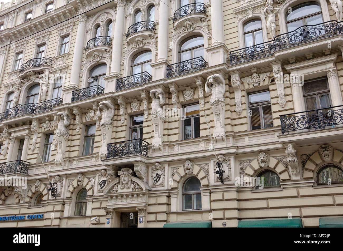Art Nouveau architecture, 33 Elizabetes iela, designed by Mikhail Eisenstein, Riga, Latvia - Stock Image