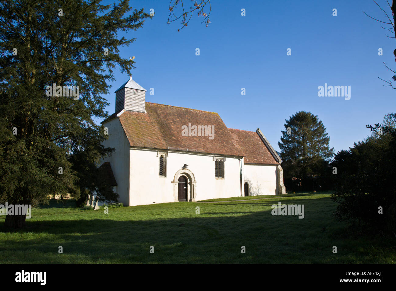 Grade 1 listed church of St James at Upper Wield Dating from 1150 - Stock Image