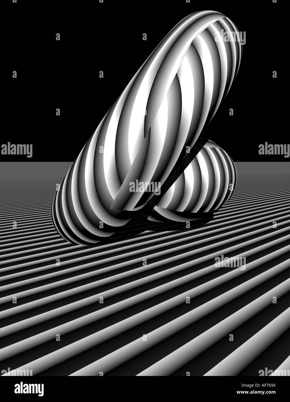 3d rendered image of primitive shapes in black and white stripes - Stock Image