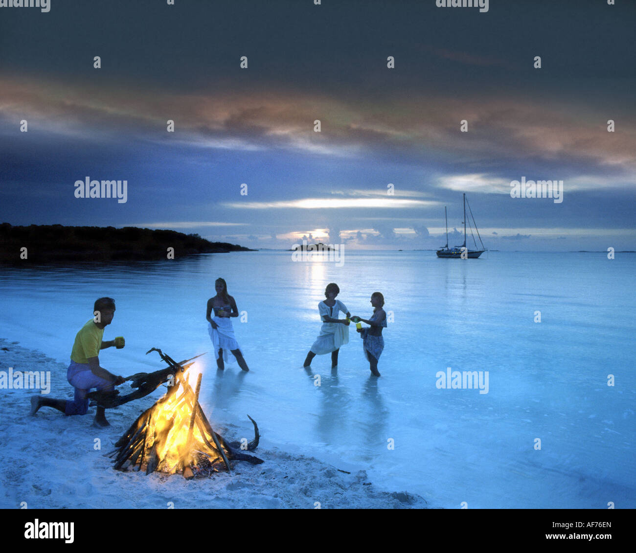 BS - BAHAMA ISLANDS: Barbeque at Grand Cay - Stock Image
