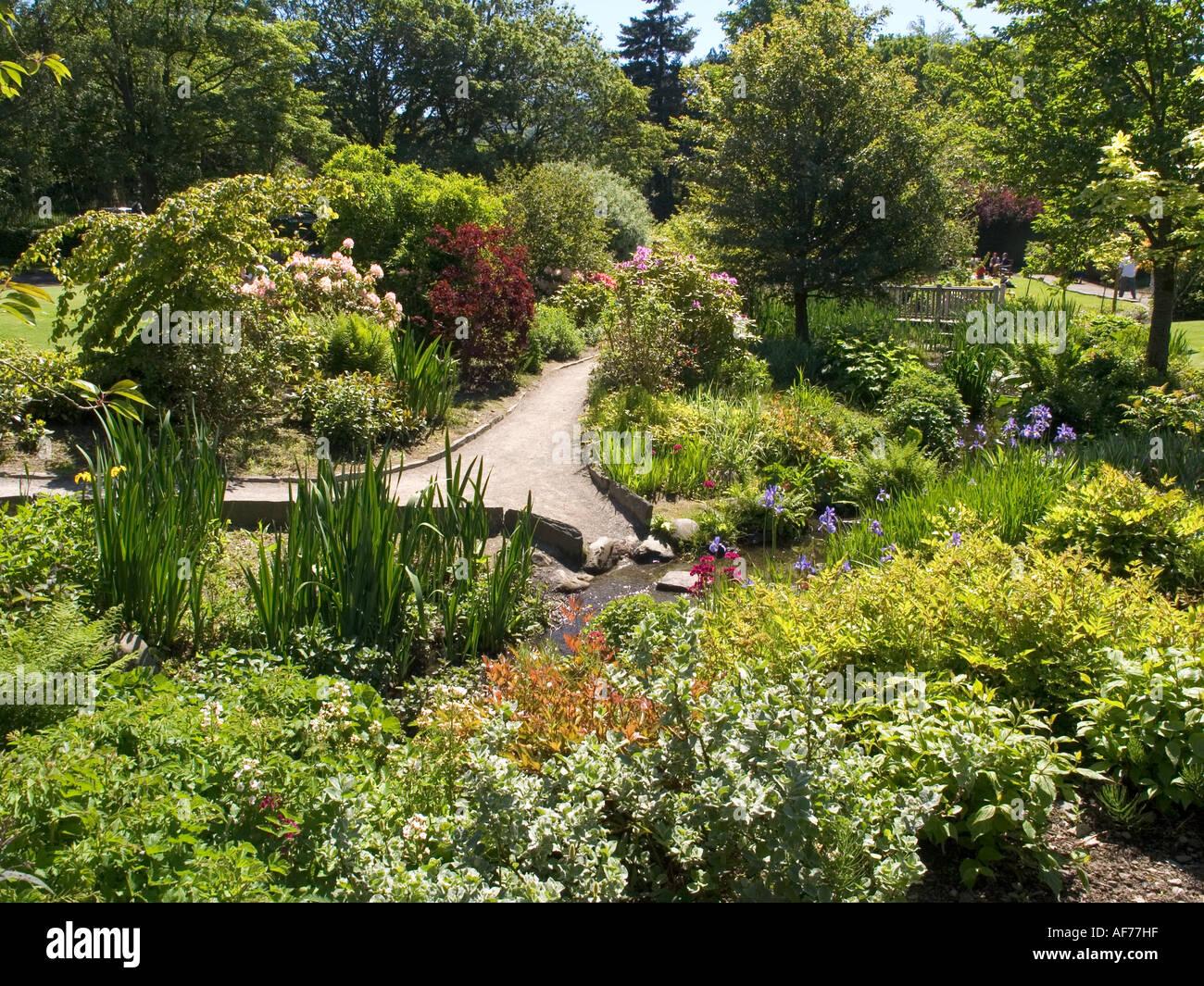 Summer gardens at Keswick in the English Lake District - Stock Image